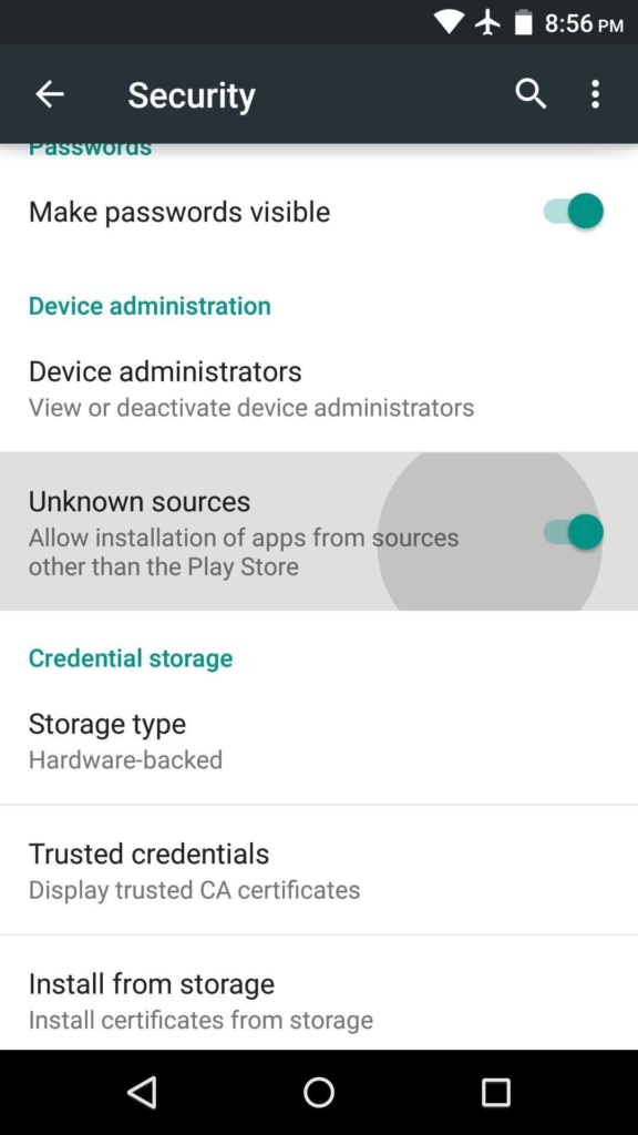 Make sure that your device is enabling permissions to install apps from unknown sources